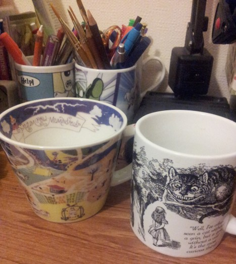 I love mugs! some are now pencil holders due to cracks, wahh :(