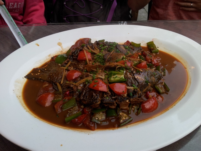 And here the fish is cooked moments later (it's called Beer Fish a dish from Yangshuo)